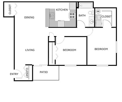 2bed, 1 bath floor plan